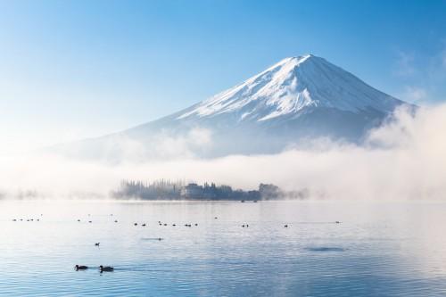 日本富士山雪冬