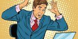 Businessman in panic, reading notebook, pop art retro vector illustration. Bad news on the Internet. Caucasian European people